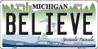 Believe Michigan Metal Novelty License Plate
