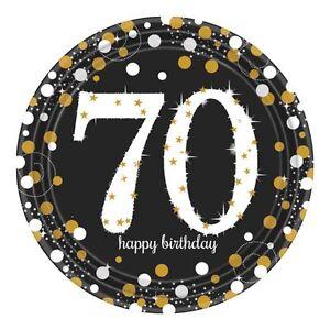 8-Dorado-Celebracion-70-Anos-Platos-de-Papel-Negro-70th-Fiesta-Cumpleanos