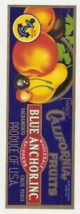 10 different Old Vintage FRUIT / VEGETABLES CRATE LABELS BLUE ANCHOR,BUAK,ETC.,
