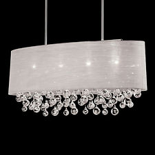 """NIB 4 Lamp Oval Drum Shade Pendant With Tear Bubble Balls Chandelier L 36"""""""