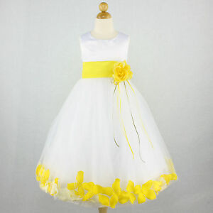 WHITE YELLOW Flower Girl Dress Bridal Wedding Party Petals Recital ...