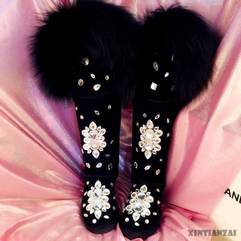 Para Mujer Piel de Zorro Sobre la la la Rodilla botas De Nieve Invierno Gruesas Puntera rojoonda Zapatos de diamantes de imitación  el mejor servicio post-venta