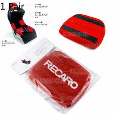 1 Pair Jdm Recaro Racing Red Tuning Pad For Head Rest Cushion Bucket Seat Racing