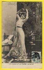 """cpa Cachet 1904 FEMME NUE dansant NACKED WOMAN DANCING """"La Cigale et la Fourmi"""""""
