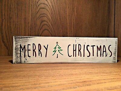 Rustic Wood Sign Merry Christmas Holiday Home Decor Seasonal Farmhouse Style Ebay