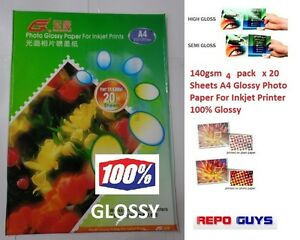 4-Packs-140gsm-80-Sheets-A4-Glossy-Photo-Paper-For-Inkjet-Printer-100-Glossy