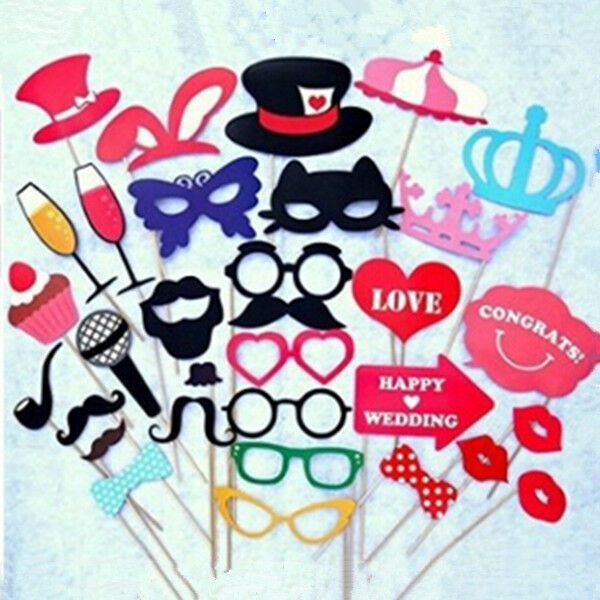 DIY Masks Photo Booth Props Mustache On A Stick Wedding Party Fun Favors 1 Set
