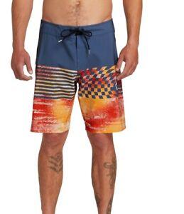 Volcom-Mens-Swimwear-Blue-Size-29-Stretch-Block-Mod-21-Board-Shorts-55-137