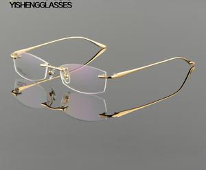 a4f4bff054 Image is loading Luxury-Rimless-Eyeglasses-Frames-Men-Eyewear-Male-RX-