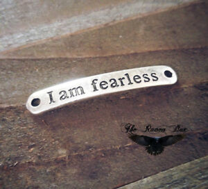 Quote Pendant Word Link Inspirational Charm Connector I Am Fearless