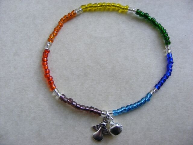 Chakra Guardian Angel Multi Colour Anklet Ankle Bracelet Chain Stretch Bell