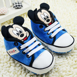Infant Baby Boy Blue Mickey Mouse Crib Shoes Size 0-6 6-12 ...