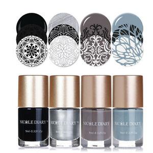 4Bottles-NICOLE-DIARY-9ml-Nail-Art-Stamping-Polish-Silver-Nail-Printing-Varnish