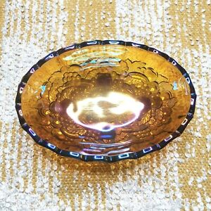 VTG-Indiana-Iridescent-Carnival-Glass-Fruit-Bowl-Oval-Harvest-Grape-Amber-Footed
