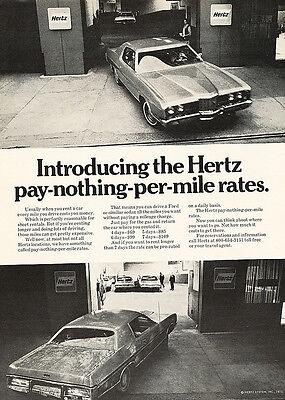 1971 Ford Hertz Rental Car white ltd  Classic Vintage Advertisement Ad H83 Chevy
