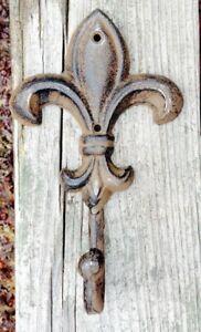 Image Is Loading Cast Iron Fleur De Lis Wall Hook Rusty