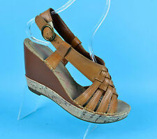 Hush Puppies Amour QTR Strap Womens Leather Brown Sandals Wedges Size 6 UK 39 EU