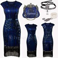 Flapper Costume Blue 1920s Roaring Great Gatsby Fancy Party Dress Plus Size 4-20