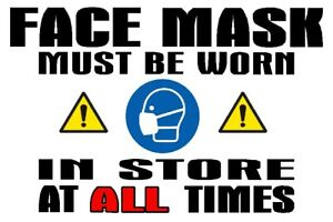 Face Mask Shop Sign - Laminated Water-proof - A5 Size