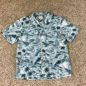 Traders-Bay-Men-Sz-L-Blue-Hawaiian-Shirt-Blue-Palm-Tree-Tropical-Mau-Loa-Beach