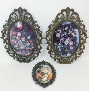 "2 Large 13"" & 1 7.5"" Vintage Baroque Convex Glass Metal Frames Lot Rococo Ornate"