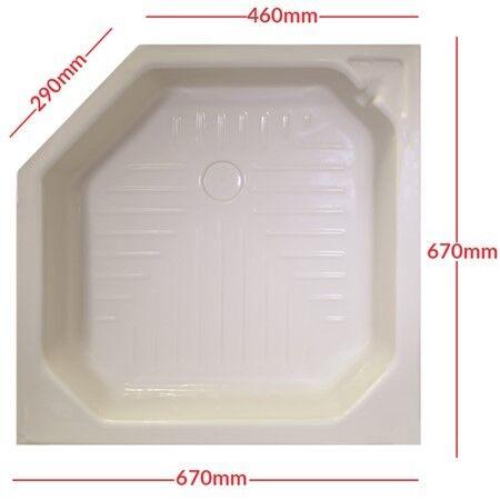 "Thompson Plastics angled shower tray SKIN LINER 27/"" x 27/"" CREAM static caravan"