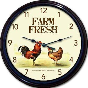 Rooster-Farm-Fresh-animals-Wall-Clock-Farmer-Vintage-look-New-10-034