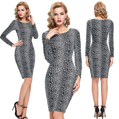 Sexy Womens Leopard Long Sleeve Evening Gown Party Cocktail Bodycon Pencil Dress