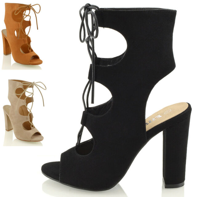 WOMENS LADIES FAUX SUEDE HIGH HEEL PARTY ANKLE CUT OUT PEEP TOE SHOES SANDALS