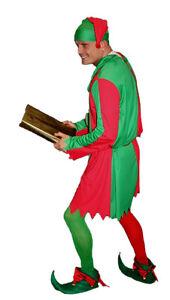 TDD-Deluxe-Adult-Elf-Costume-Hat-amp-Shoes-Santas-Helper-Christmas-Fancy-Dress-UK