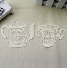 4pcs Ivory Lace Lovely Cup Teapot Lace Appliques Embroidery Patches Trim M048