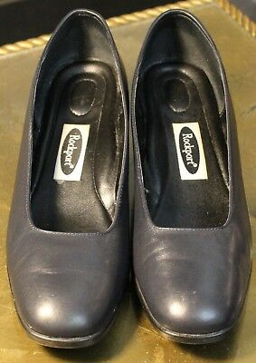 "Clothing, Shoes & Accessories Glorious Women's Navy Blue Leather Slip-on Heels Size 7 1/2"" M Rockport Women's Shoes"