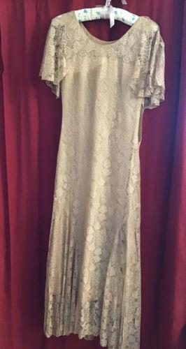 True Antique Vintage 1930s Silk Lace Dress Gown AS