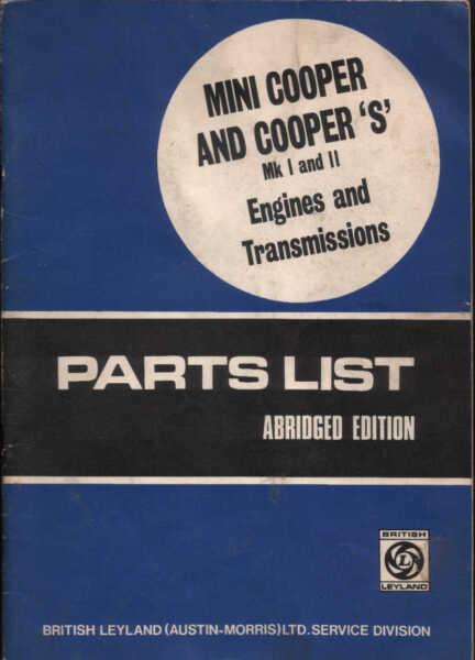 Bmc Bl Mini Cooper & S Mk1 Gli Elenchi Delle Parti Archivio Opere St Halda Janspeed