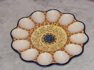 Genuine-UNIKAT-Hand-Made-Polish-Pottery-Egg-Tray-Mama-Rose-Pattern