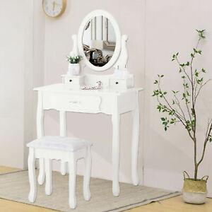 Coiffeuse-avec-Tabouret-3-Tiroirs-et-Miroir-Ovale-Table-de-Maquillage-Blanc