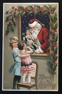 Christmas-Santa-Claus-with-Children-at-Window-Antique-Embossed-Postcard-s-690