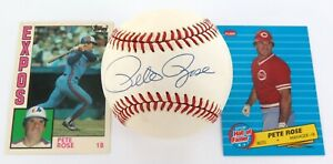 PETE-ROSE-HAND-SIGNED-AUTOGRAPHED-RAWLINGS-BASEBALL-2-CARDS-100-GENUINE