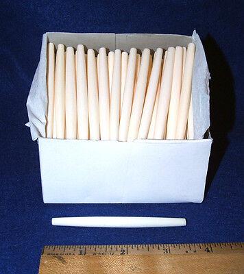 "Box of 100 Long Bone Hairpipe Beads White  3.5"" length Native Crafts"