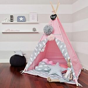 Image is loading Pink-Teepee-Wigwam-Play-Tent-Children-Cotton-Canvas- & Pink Teepee Wigwam Play Tent Children Cotton Canvas Play Tent ...
