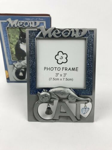 """Metal Meow Cat Photo Picture Frame Bell  Fits 3/"""" X 3/"""" Blue New"""