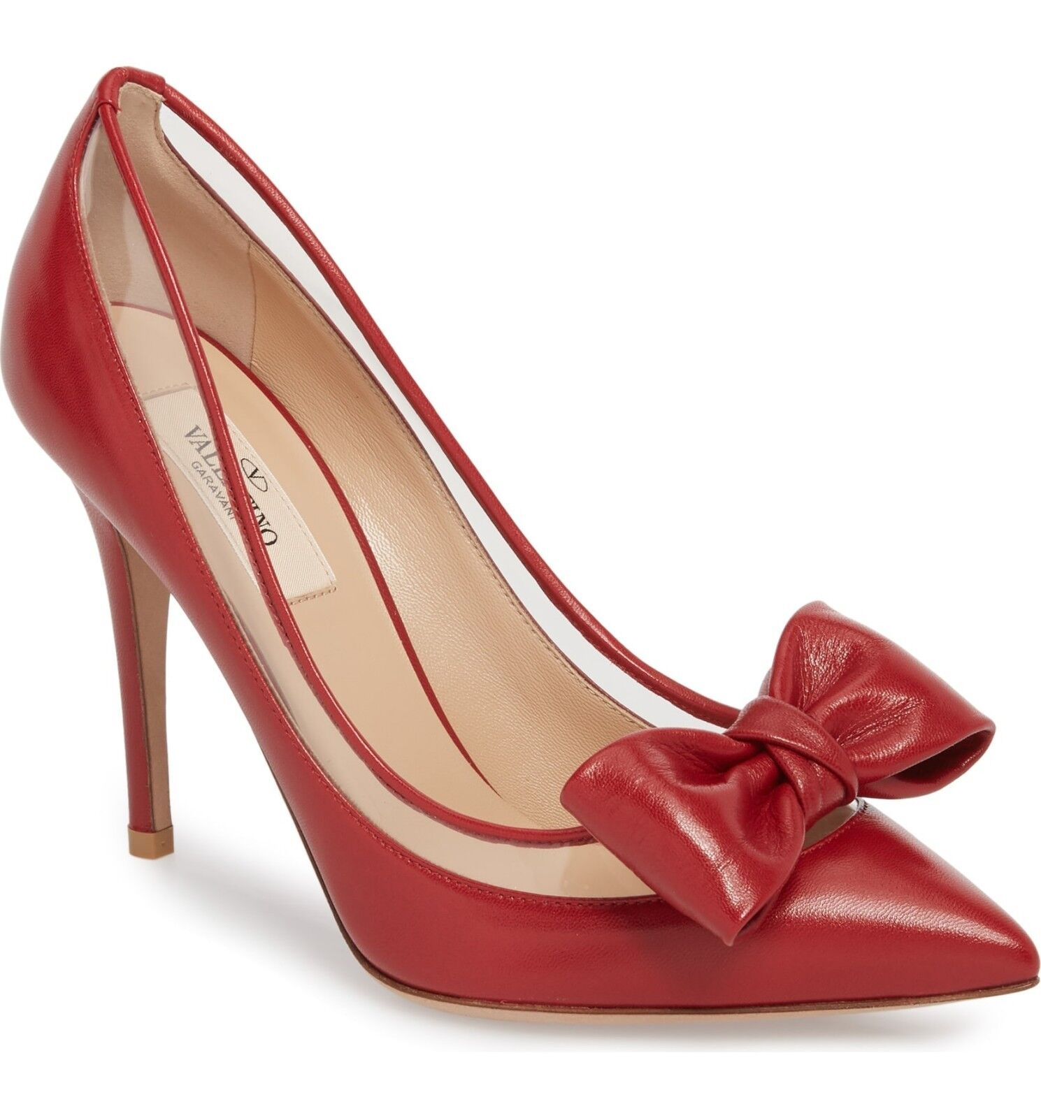 NIB  895+ VALENTINO Glassglow Bow Pointed Pump 100 Heel Heel Heel shoes Red Leather 39 - 8 407389