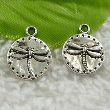 110pcs tibet silver round dragonfly charms 19x15mm B-4623 Free Ship