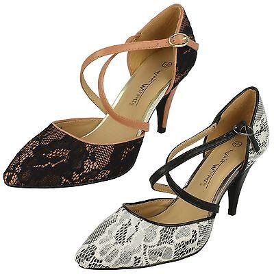MUJER NEGRO/blanco o negro/rosa encaje de salón Zapatos Cruzado correas l2273