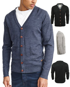 New-Mens-Cardigan-Button-Through-Knitted-Cardi-Blue-Black-Grey-S-M-L-XL