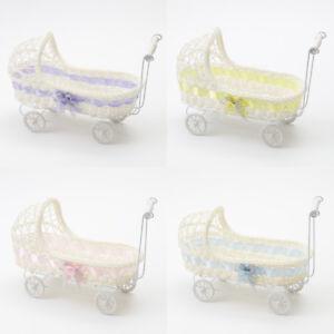 WICKER PRAM BASKET WITH HOOD BABY SHOWER BOY OR GIRL GIFTS, SWEET HAMPER DOLLS