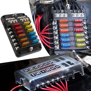 12-Way-Blade-Fuse-Block-Box-Holder-LED-Light-12-24V-Circuit-Caravan-Marine-Car