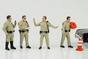 Highway-Patrol-Police-Kontrolle-Set-4-Figuren-Figur-1-18-American-Diorama-no-car