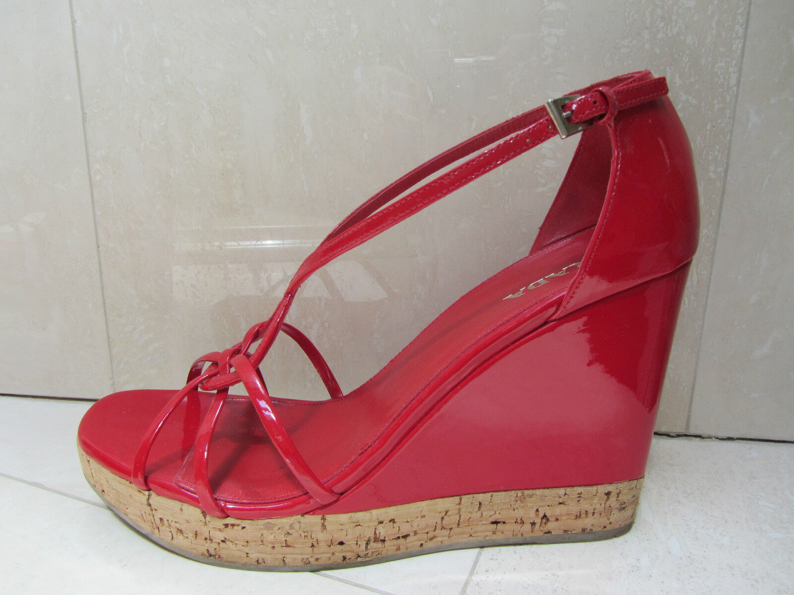 PRADA Rosso Patent Platform Cork Wedge Strappy Sandals Open Toe Shoes 40