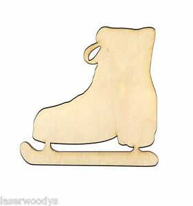Ice-Skate-Unfinished-Flat-Wood-Shapes-Cut-Outs-IS3-Variety-Sizes-Laser-Crafts